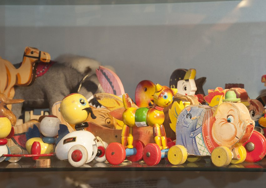 Wooden animals on wheels, 1930-1980