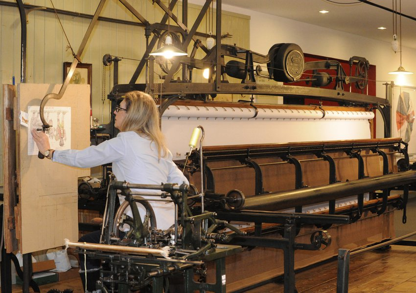 Built in 1905 by F. Martini & Co., the machine has 312 needles and can embroider cloth up to 4 metres wide.